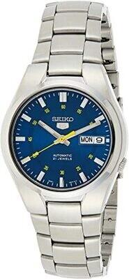 reloj automático hombre Seiko 5 SNK615K1 dial azul 37mm correa acero