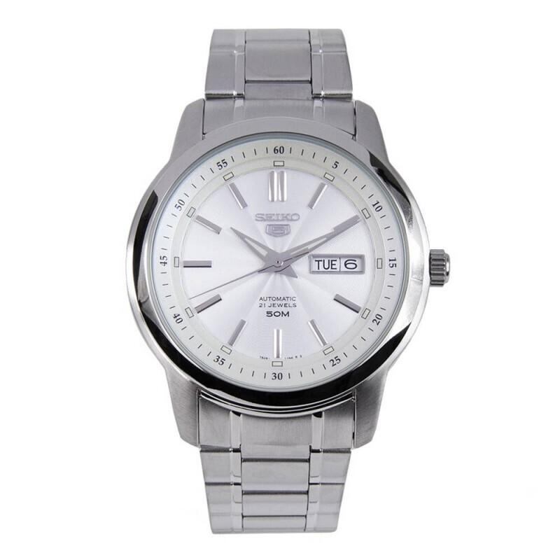 reloj automático hombre Seiko 5 SNKM83K1 dial blanco 43mm correa acero 50m water resist