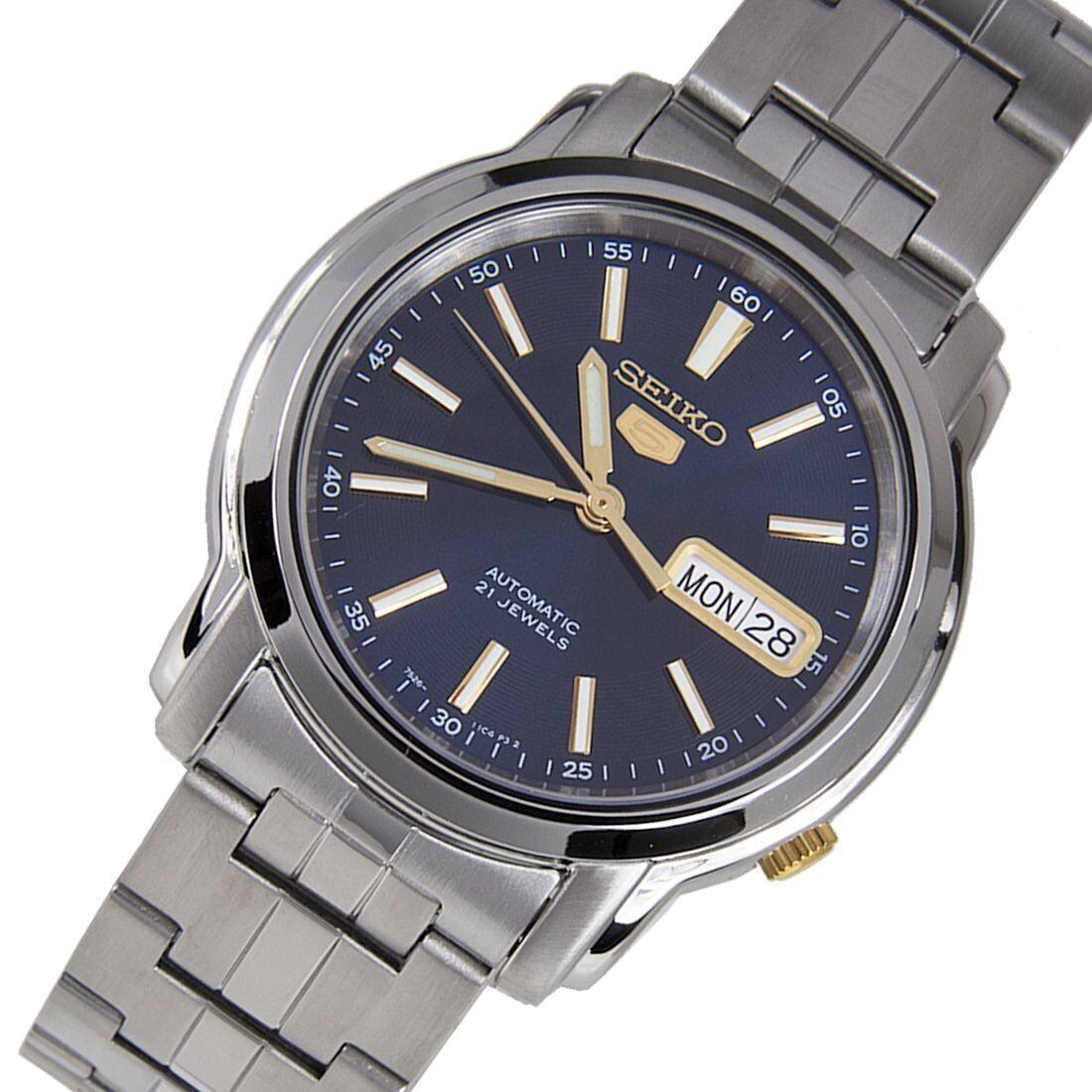 reloj automático hombre Seiko 5 SNKL79K1 dial azul 37mm correa acero