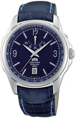 reloj automático hombre Orient Politician CEX0P002D Power Reserve dial azul 40mm correa cuero