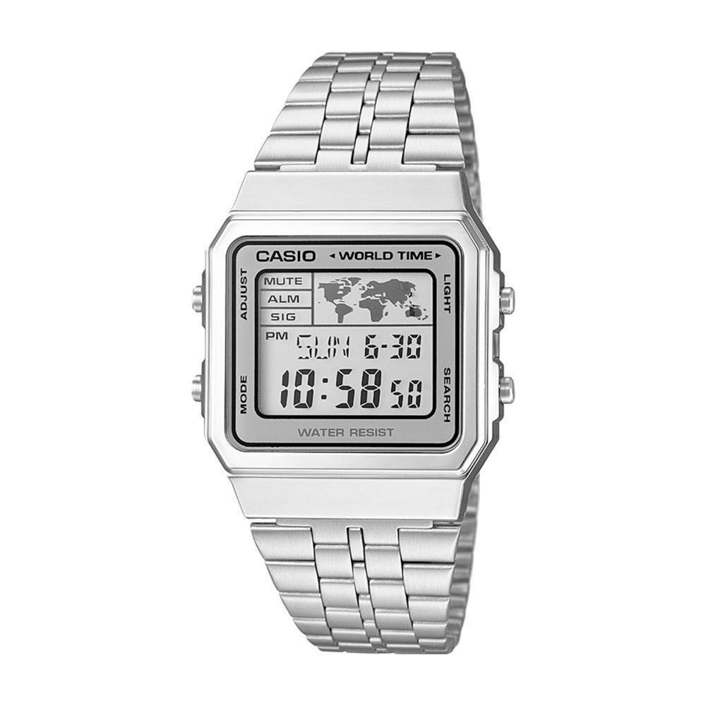 Reloj Casio Alarm World Time Digital A500WA-7DF hora mundial plateado