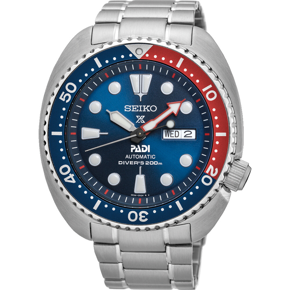 reloj automático buceo hombre Seiko Prospex Turtle Padi SRPE99K1 dial azul 45mm correa acero 200m water resist