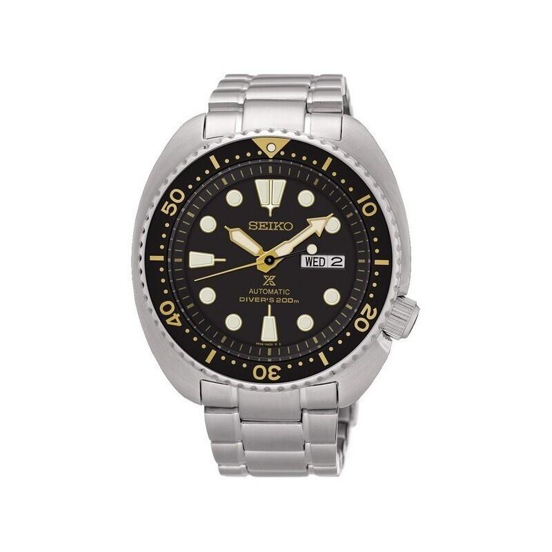 reloj automático buce hombre Seiko Prospex Turtle SRPE91K1 dial negro 44mm correa acero 200m water resis