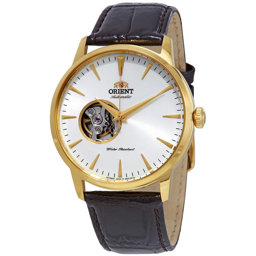 Reloj automático hombre Orient FAG02003W Skeleton dial blanco 41mm correa cuero 50m WR