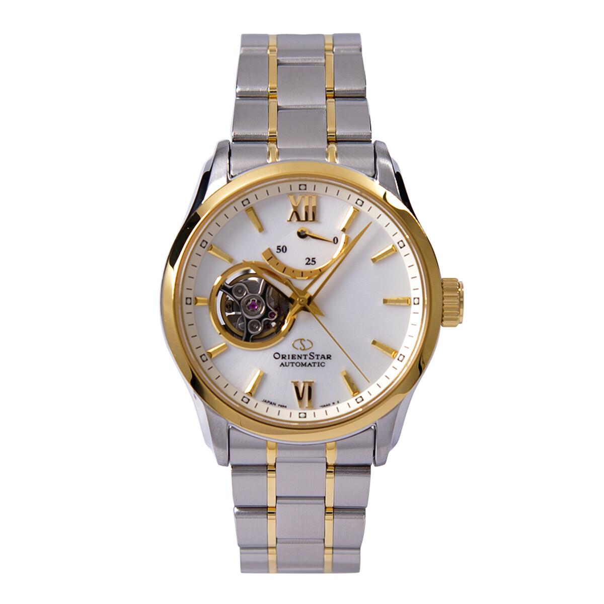 reloj automático hombre Orient Star RE-AT0004S dial blanco 39.3mm bisel dorado correa acero 2 tonos