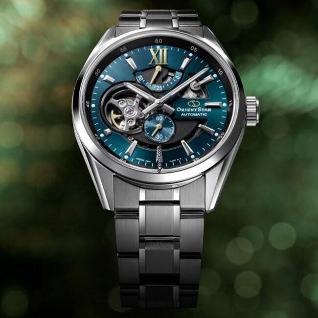 reloj automático hombre Orient Star RE-AV0114E Power Reserve 50h dial verde 41mm cristal zafiro anti-reflejo 100m correa acero