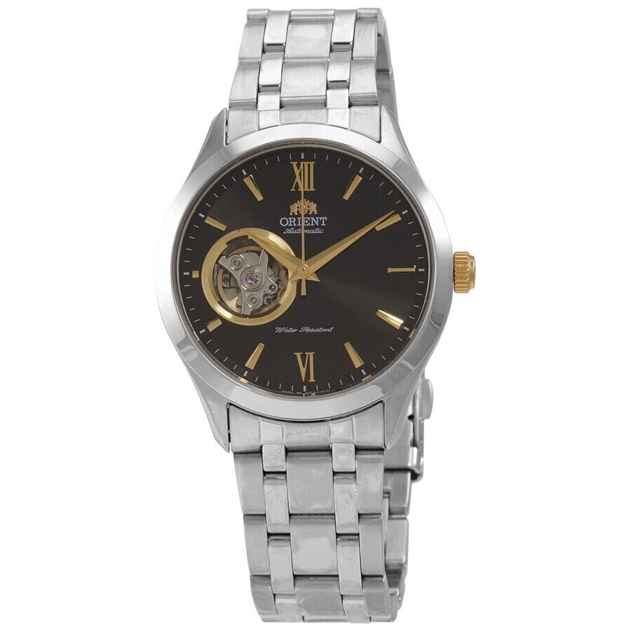 reloj automático hombre Orient Open Heart SAG03002B dial negro 38,5mm correa acero
