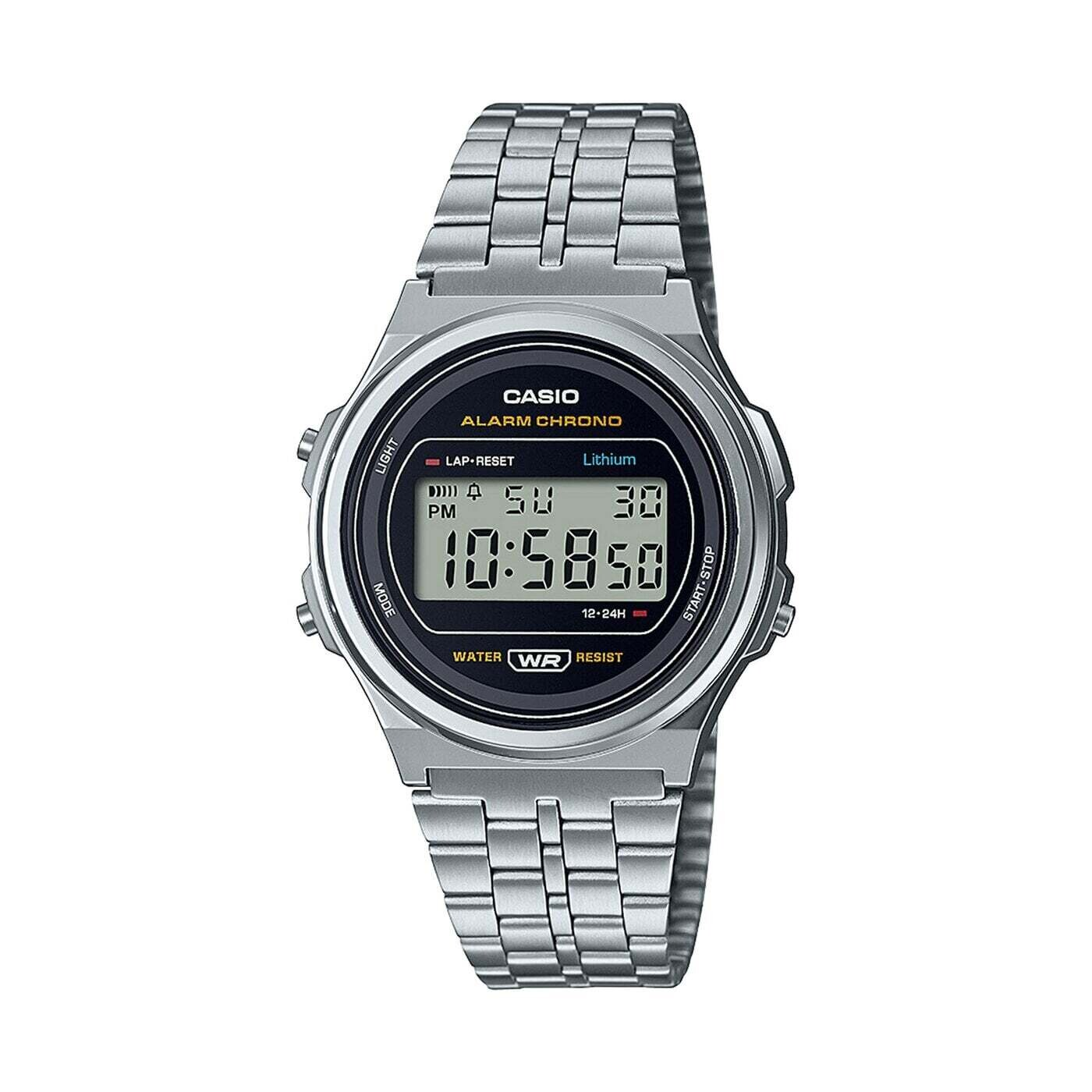 Reloj joven unisex Casio A171WE-1A alarma cronómetro luz correa acero