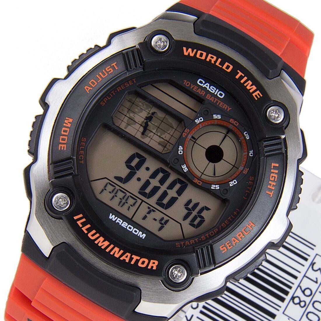 Reloj Casio World Time AE-2100W-4A HOMBRE 10 años batería Hora Mundial Iluminación 200m water resist