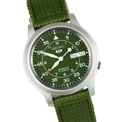 Reloj hombre Automático Seiko 5  SNK805K2 Militar dial verde 37mm correa tela