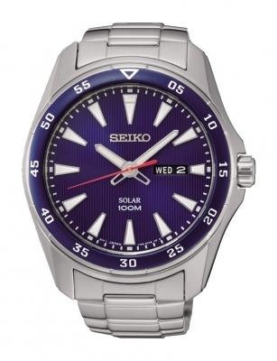 Reloj Solar Hombre Seiko SNE391P1 dial azul 43mm correa acero 100m water resist