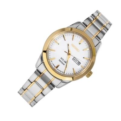 Reloj SOLAR mujer Seiko Solar SUT162P1 dial 29mm blanco correa acero dorada-plata 100m water resist