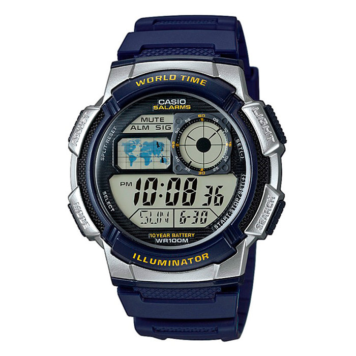 Reloj hombre Casio Digital AE-1000W-2A correa resina - hora mundial