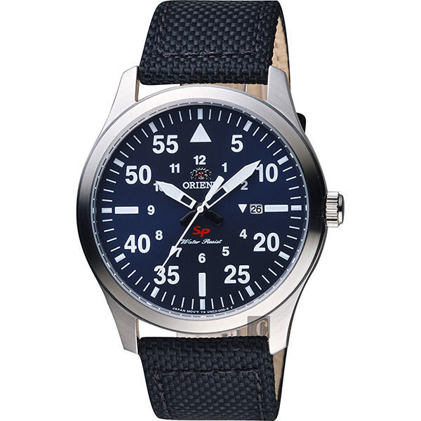 Reloj hombre aviador Orient FUNG2005D dial azul correa tela
