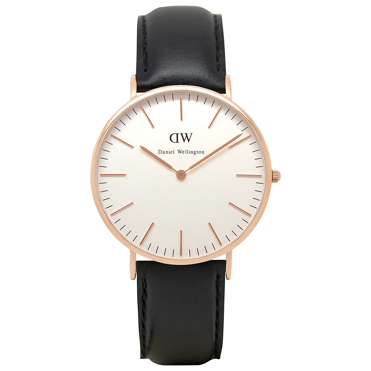 Reloj hombre Daniel Wellington Sheffield Rose 0107DW Black Leather 40mm Men's Watch correa cuero