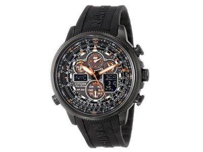 Reloj hombre Citizen Navihawk A-T Black Dial Black Rubber Men's Watch JY8035-04E energía solar