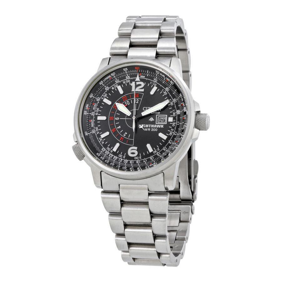 "Reloj hombre Citizen Men's BJ7000-52E ""Nighthawk"" Stainless Steel Eco-Drive Watch (energía solar)"
