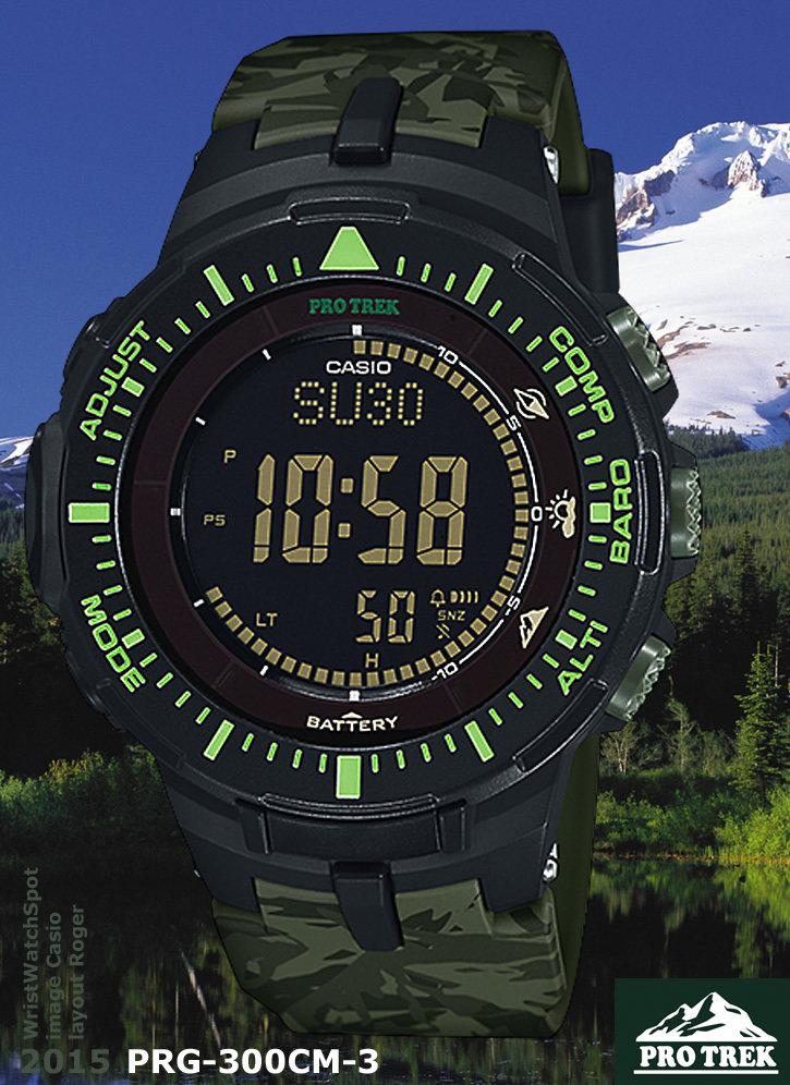 reloj hombre Casio PROTREK PRG-300CM-3CR Pro Trek Solar-Power Triple-Sensor Watch brújula, barómetro/termómetro, altímetro