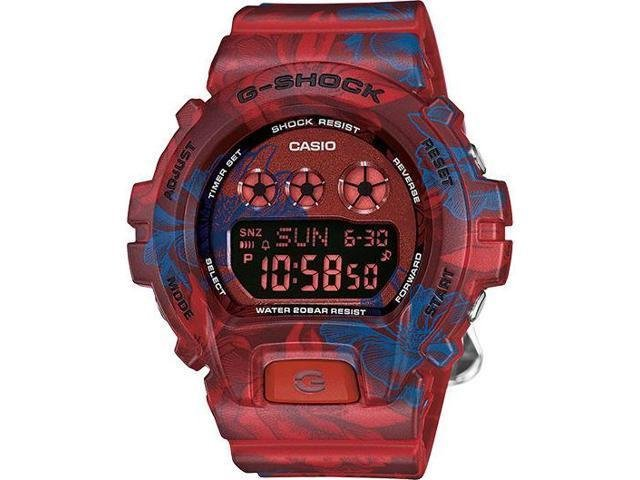 "reloj Casio G-Shock Unisex GMDS6900F-4 Digital Multi-Function Red/Blue Floral Watch ""Barça look"" SURFERS"