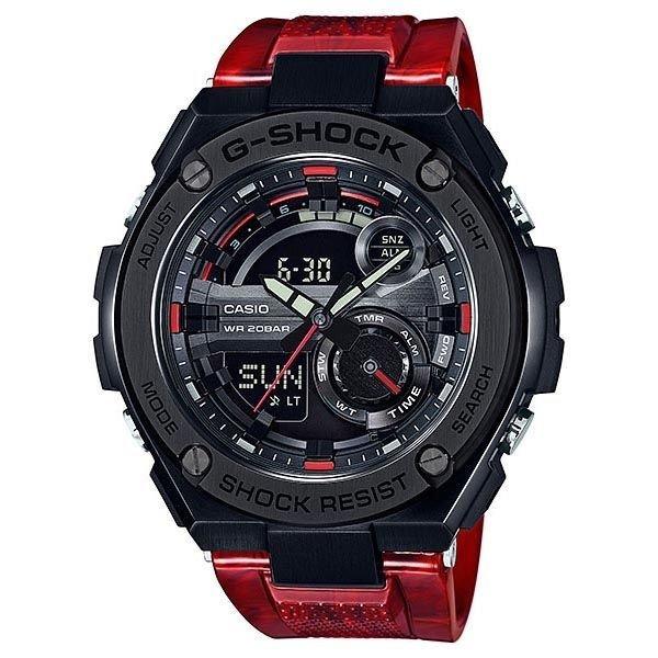 reloj hombre Casio G-SHOCK Men's G-Steel GST210M-4A Super Illuminator Hora Mundial Red Resin Band Watch