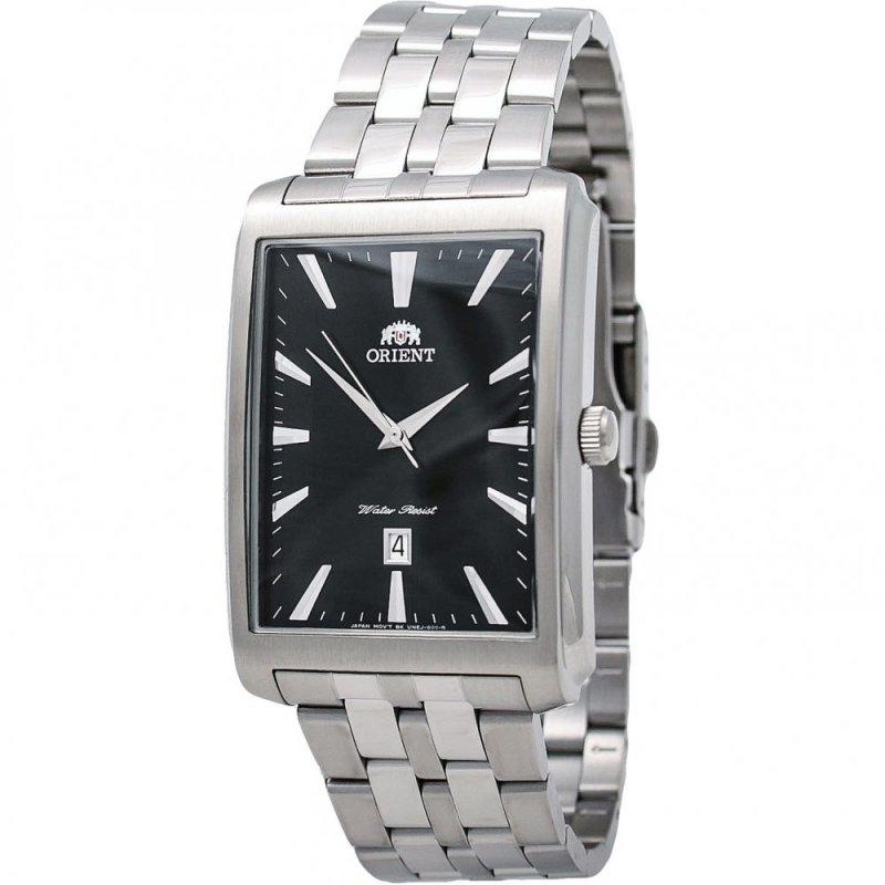 reloj hombre Orient FUNEJ003B caja rectangular negro correa acero cuarzo