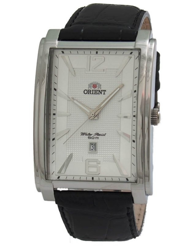 reloj hombre Orient FUNED003W rectangular blanco - correa cuero fecha