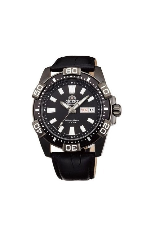 reloj hombre automático Orient FEM7R004B dial negro correa cuero deportivo