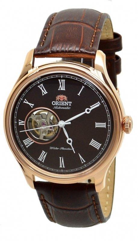 Reloj hombre automático Orient Skeleton FAG00001T correa cuero oro rosa