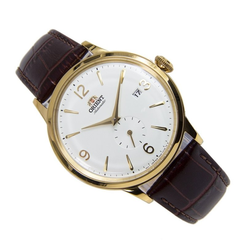 reloj hombre automático Orient Bambino RA-AP0004S white gold correa cuero