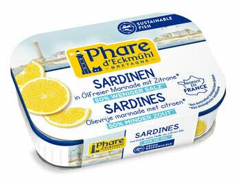 Sardinen mit Zitrone reduzierter Salzgehalt MSC, 135 g