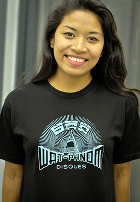 Black unisex shirt with '60s Cambodian record logo