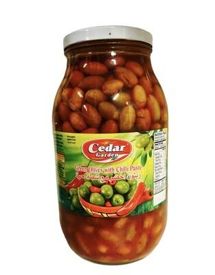 Cedar Garden Green Olives With Chili Paste 4x3200g