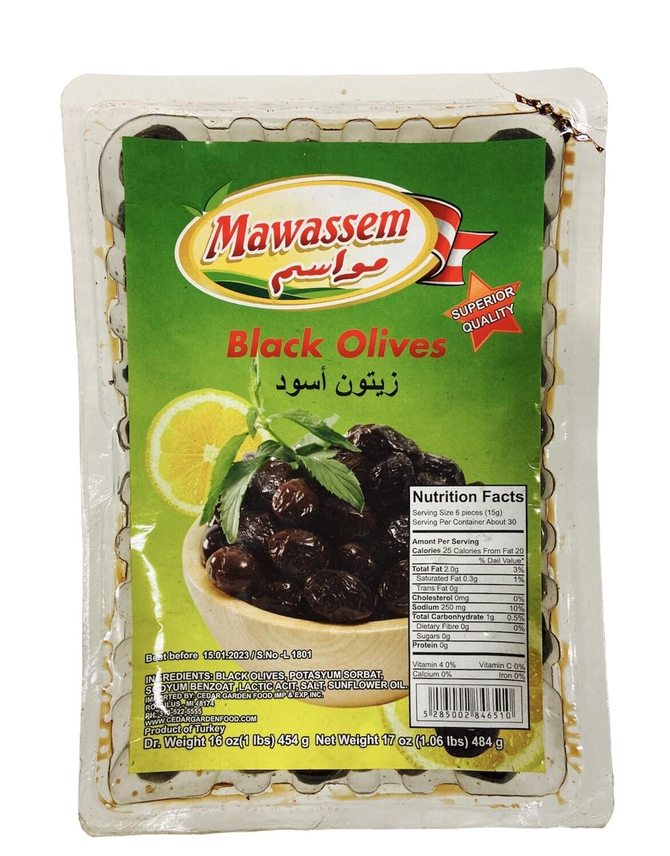Mawassem Vaccum Black Olives 24x1lb