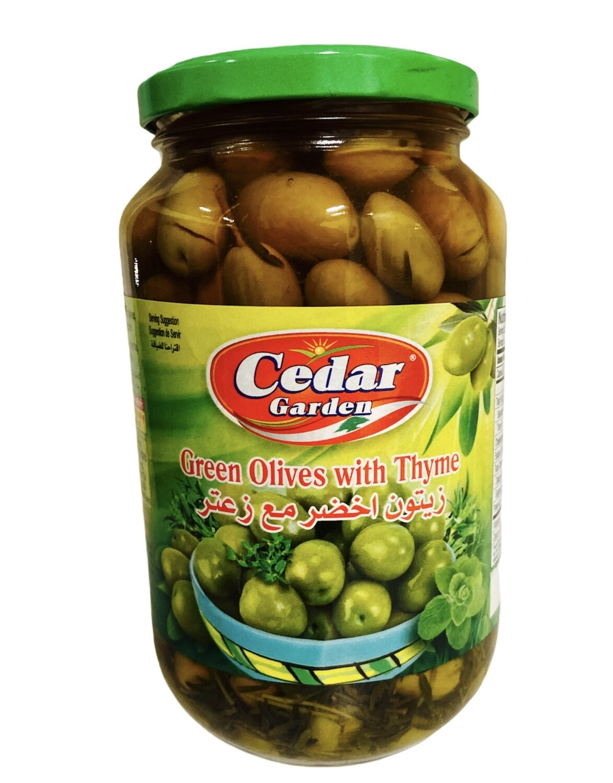 Cedar Garden Green Olives With Thyme 12x900g