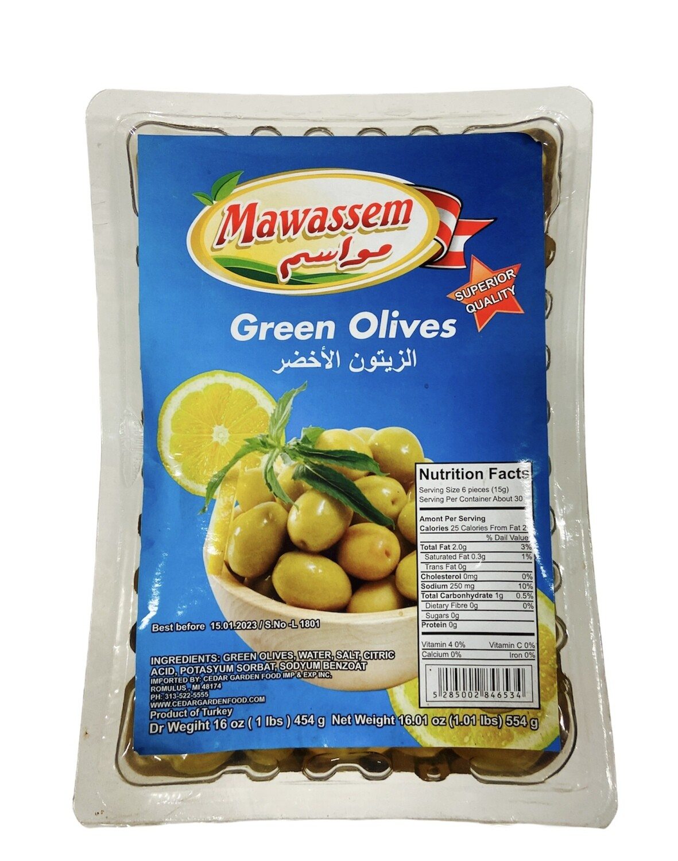 Mawassem Vaccum Green Olives 24x1lb