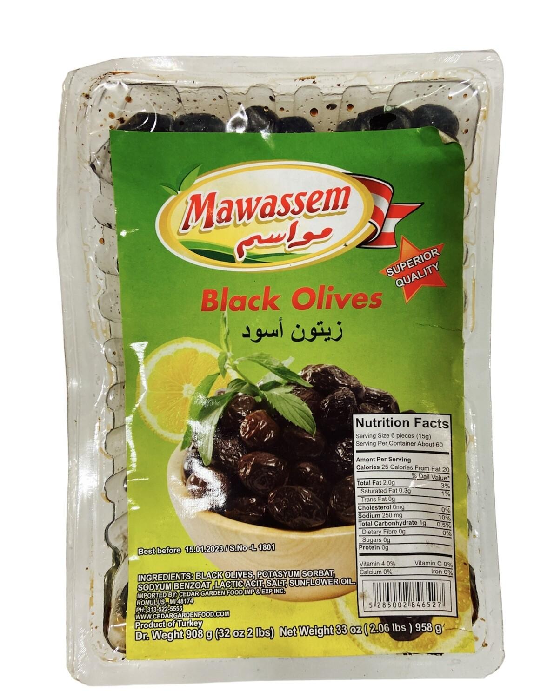 Mawassem Vacuum Black Olives 12x908g