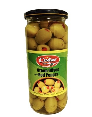 Cedar Garden Green Olives With Red Peppers