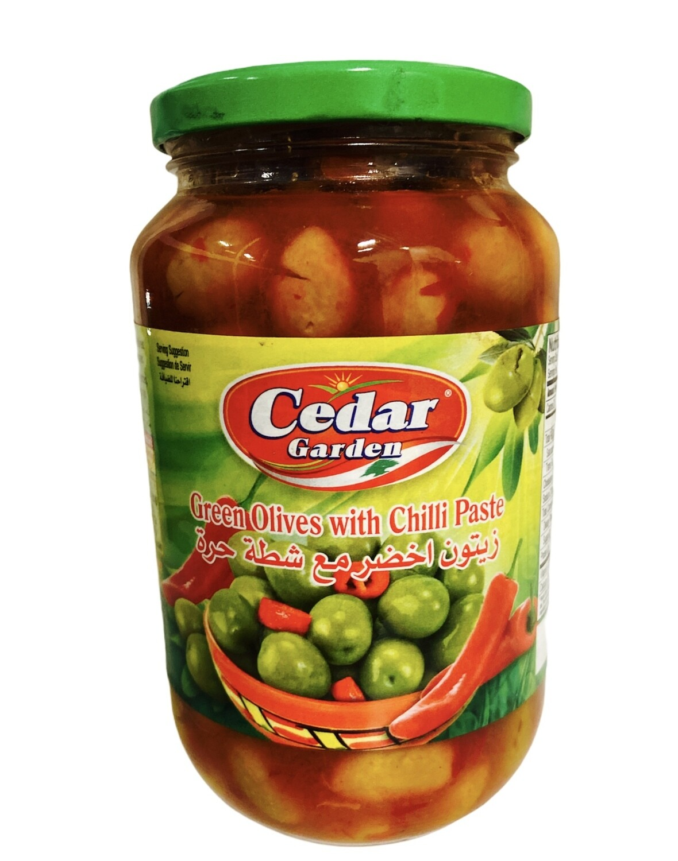Cedar Garden Green Olives With Chili Paste 12x900g