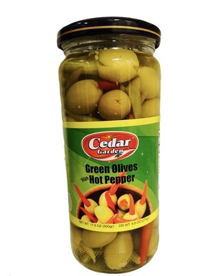 Cedar Garden Green Olives With Hot Peppers