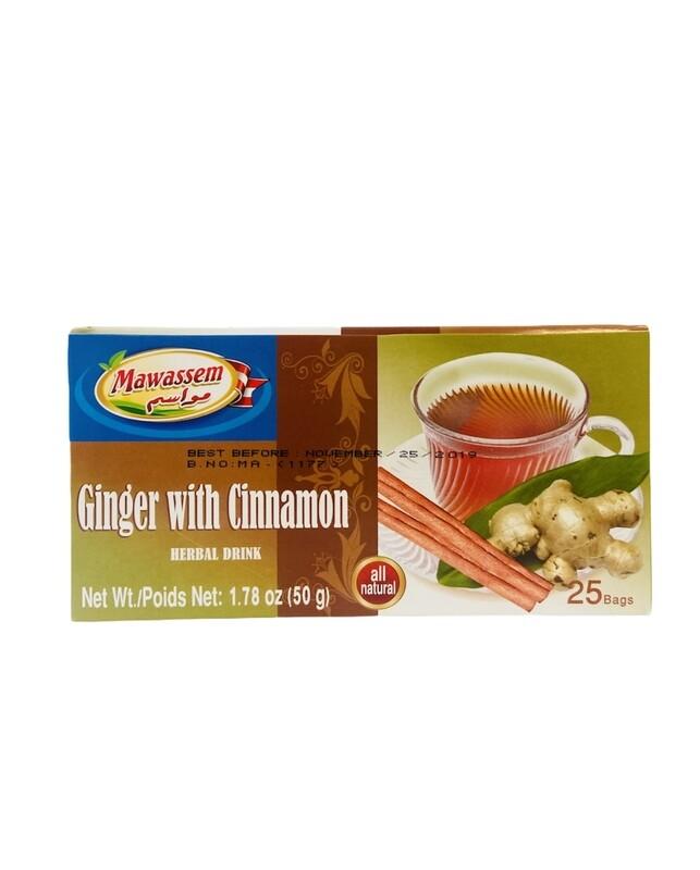 Mawassem Ginger With Cinnamon Herbal Tea 24x50gx25b