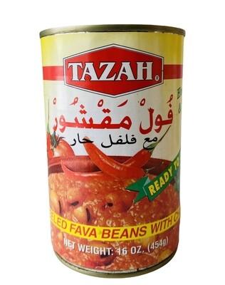 Tazah Peeled Fava Beans With Chili 24x16oz