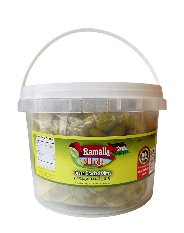 Ramalla Green Cracked Olives 4x2kg