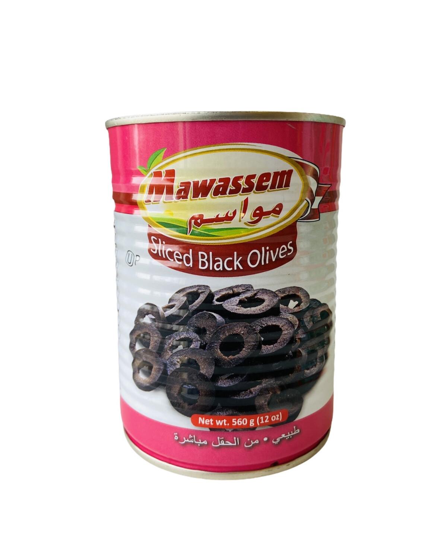 Mawassem Sliced Black Olives 12x1lb