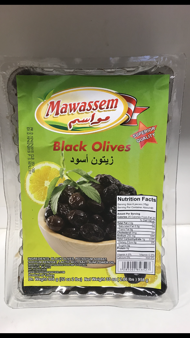Mawassem black olive vacum12x908 g