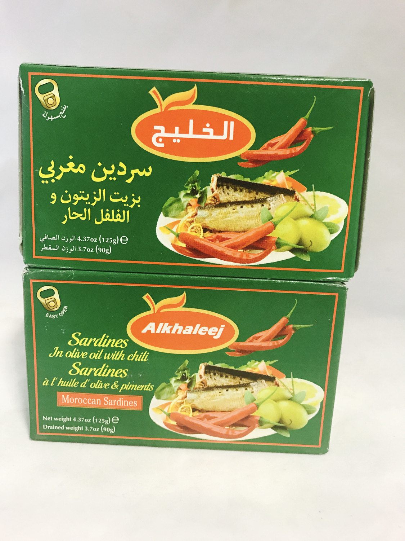 Alkhaleej sardines in olive oil & chili pepper 50 x125g
