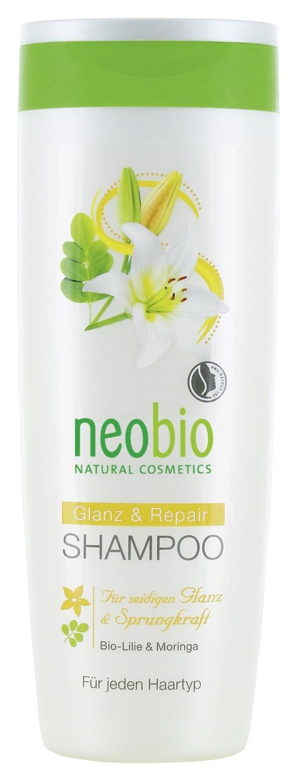 NEOBIO. Шампунь для восстановления и блеска волос с биолилией и морингой, 250 мл