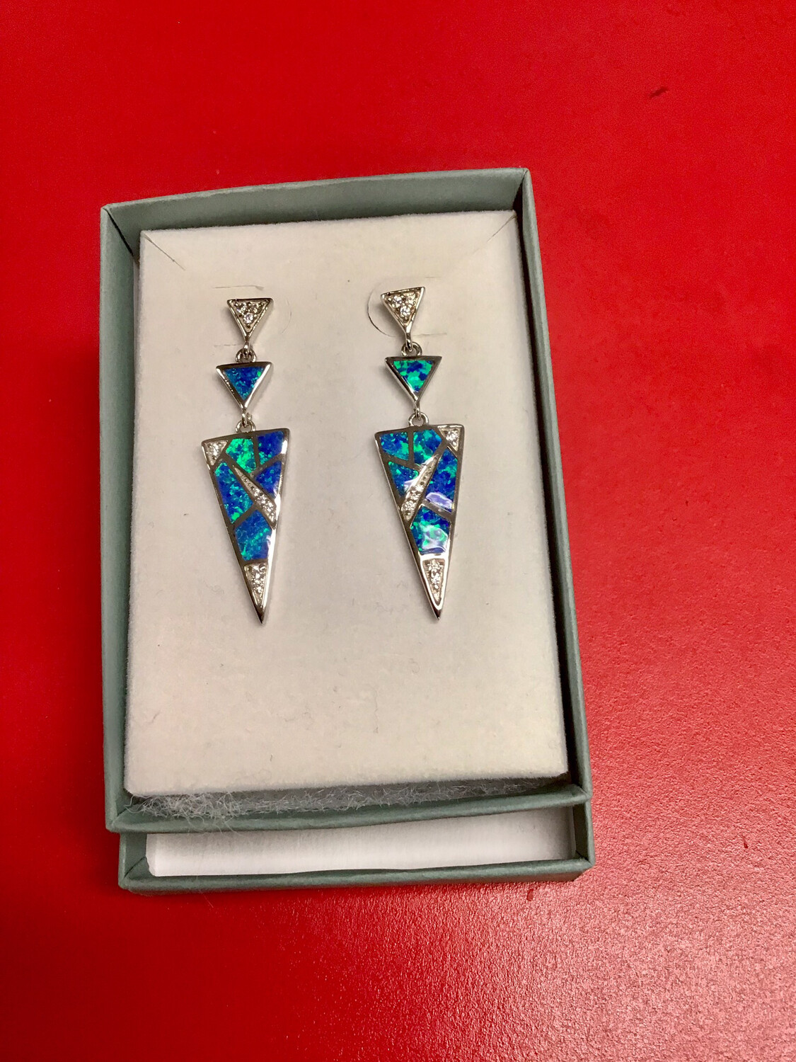 Geometric Sterling Mosaic Opal Drop Earring
