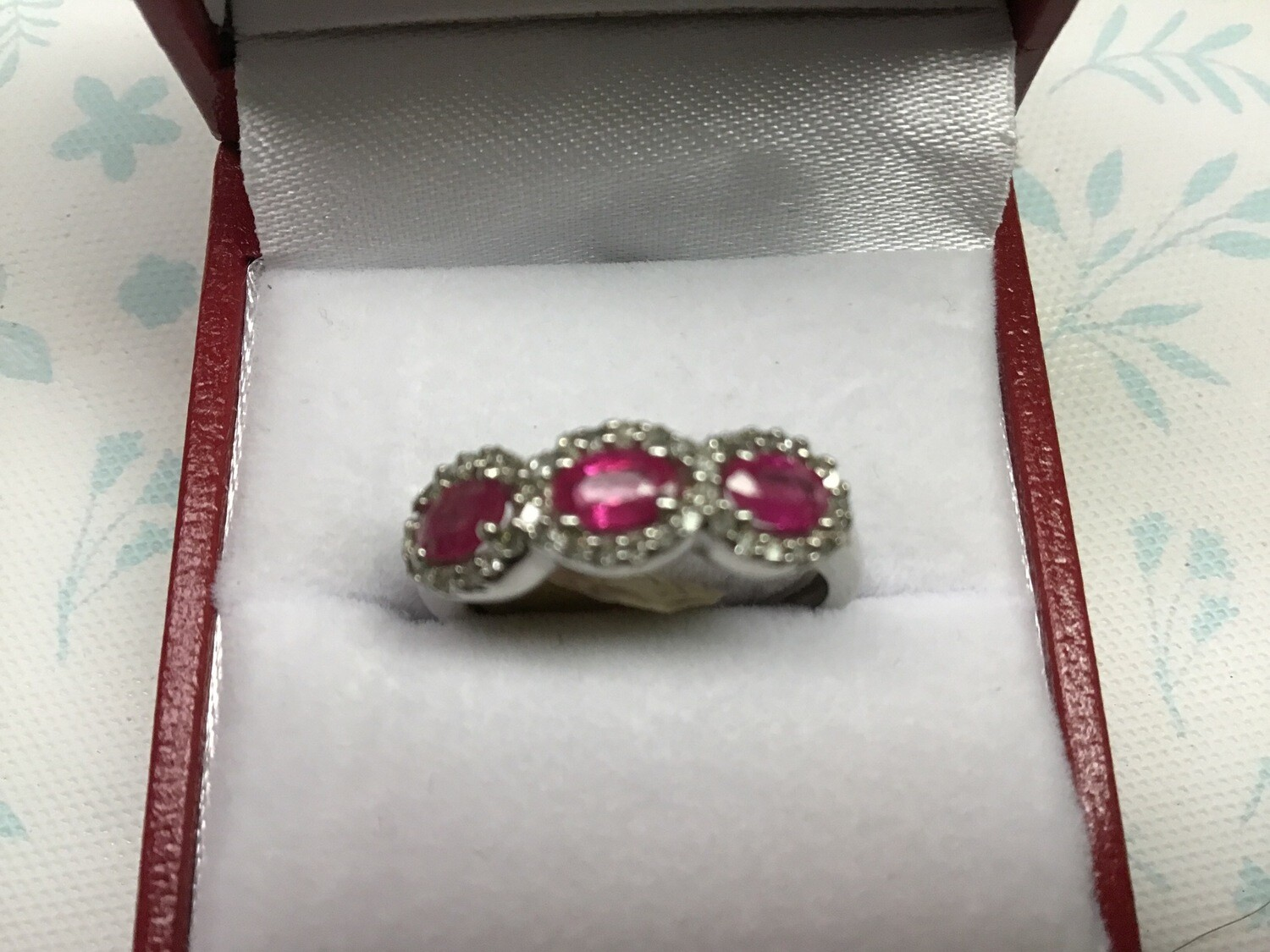 OVAL RUBY 3 STONE RING WITH DIAMONDS