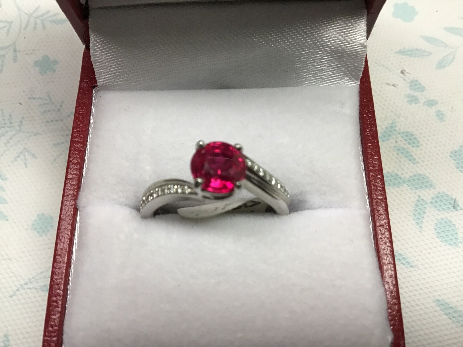 ROUND RED RUBY BYPASS WITH DIAMONDS