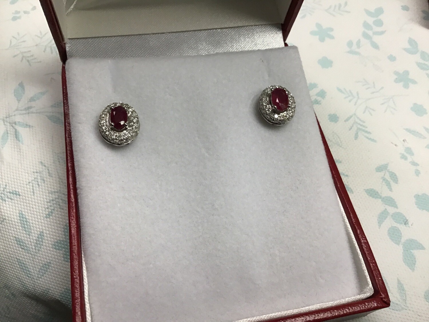 OVAL RUBY POST EARRINGS WITH DIAMONDS